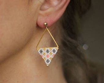 Geometric Earrings, Triangle Earrings, Himmeli Inspired Earrings, Beadwork Earrings, White Pink Earrings, Gold Stud Earrings - MADE TO ORDER
