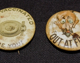 2 Vintage Pin Back Button / Buttons /  Push Pins / PinBacks