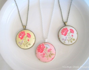 Fabric Button Necklace, Floral Button Necklace ,Fabric Button Necklace, Button Jewelry,Floral Necklace,Bridesmaid Jewelry, Floral Jewelry