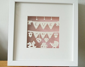 Personalised Papercut New Baby or Christening giftPaper cutting hand made and hand cut