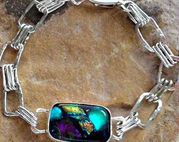 Aurora Triple Love Link Memorial Bracelet in Sterling Silver,Ashes in Glass, Cremation Jewelry, Pet Memorial