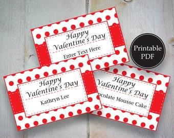 Valentine Red Polka Dot Flat Place Card~Valentine's Editable Place Card~Valentine's Day Printable Place Card~Buffet Table Card
