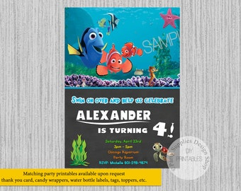 PRINTED or Digital Finding Dory Movie Birthday Invitations, Chalkboard Finding Dory Party Supplies, Nemo Dory Party Printable Invitations
