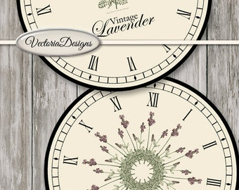 Lavender Clocks printable french provincial party decor diy paper crafting craft digital instant download digital collage sheet - VDCLVI1453