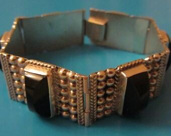 "Sterling Silver Onyx Mexican Flexible Cuff Bracelet 7""x 3/4""- 32.85g"