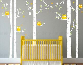 Woodland Birch Tree Wall Decal | Woodland Animals Wall Art | Sticker Pack | Custom Nursery | Kids Wall Stickers | Wall Decal Sticker | 078