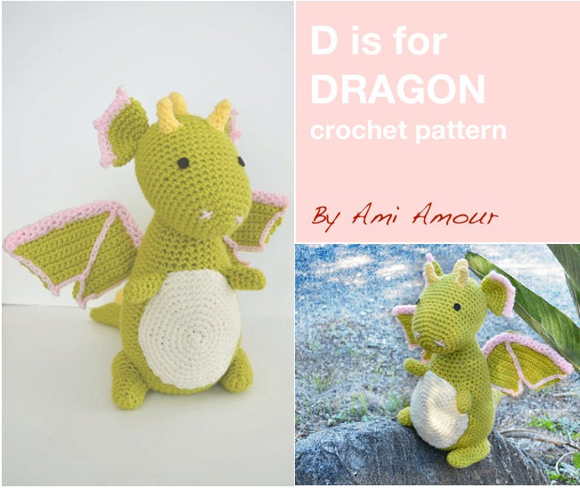 D is for Dragon Pattern Crochet Amigurumi PDF from amiamour on Etsy ...