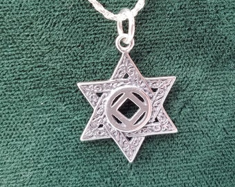 ssj09- NA Star Of David w/ NA Service Symbol - Nickel Size Pendant - 925. Ster Silver Narcotics Anonymous