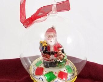"Santa Claus Mercury Glass Diorama Christmas Ornament Holiday Decor 4"" Ball Globe"