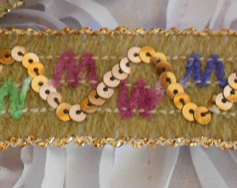 Multi Colored Gold Sequined Trim