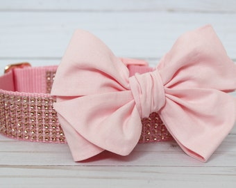 Dog Collar Bow Add-On Light Pink Bow for Dogs Matching Dog Bow Dog Collar