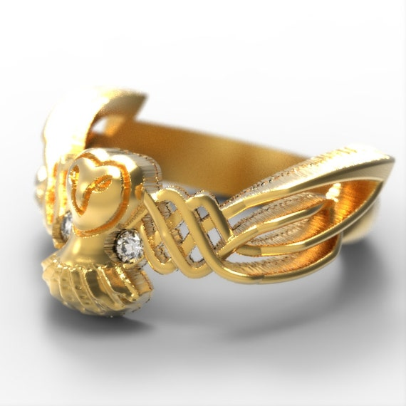 Celtic Owl Ring With Diamonds in 10K 14K 18K Gold, Palladium or Platinum with Traditional Woven Design CR-1011