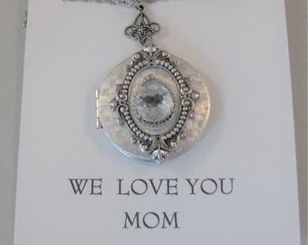 We Love You Mom Mystic Diamond,Vintage Diamond,Mother's Day,Mom Necklace,Mothers Necklace,Vintage STone,Vintage Crystal,Vintage Necklace,