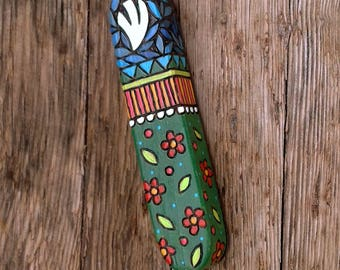 Floral Mezuzah, Wooden Mezuzah case, Jewish art, Jewish gift, Judaica item, Pyrography art, wood burning art
