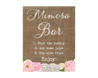 Mimosa Bar sign, printable Mimosa Bar, Shabby Mimosa Bar, Manis and Mimosas shower, Mimosas shower sign, 8x10 Mimosa Bar Sign, Download sign