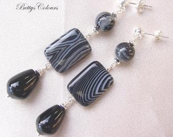 Agate earrings, striped agate earrings, onyx earrings, sterling silver earrings, dangle earrings, stone earrings