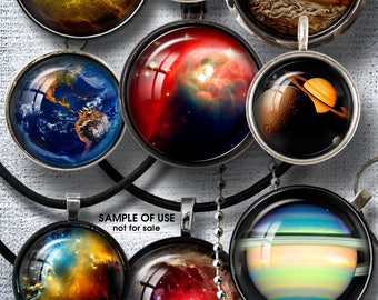 """Astronomy Space Digital Collage Sheets Printable Downloads for Bottle Caps Pendants Crafts 1.5"""", 1.25"""", 30mm, 1"""", 25mm Circles JC-064"""