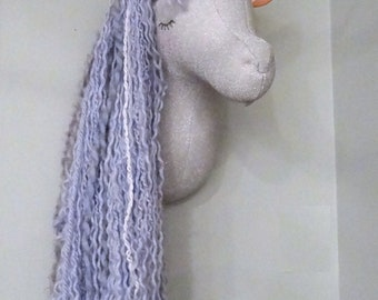Unicorn Head Faux Taxidermy Unicorn Silver and blue Unicorn