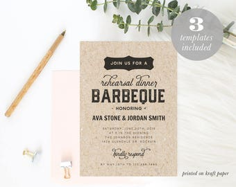Printable Barbeque Rehearsal Dinner Invitation Template, BBQ Wedding, Rehearsal Dinner Invite, Editable PDF, Instant Download  #SPP052rd