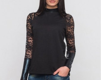 Lace blouse Combined woman blouse Eco leather contrast  Black blouse Stand Collar Autumn blouse