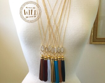Tassel Necklace, Long Leather Tassel Necklace, Bohemian Tassel Crystal Necklace, Layered and LongTassel Necklace
