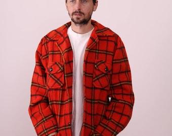 60s PLaid Wool Hunting Bell Shirt Coat Small