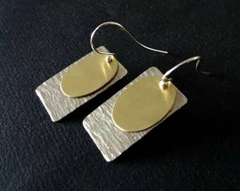 Silver And Gold Earrings Sterling Silver Hooks Geometric Dangle Drop Metalwork Handcrafted Hand Hammered  Mixed Metal Handmade Greek Jewelry