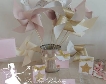 Set of 10 pinwheels wind pink blush, ivory, white and gold 15cm