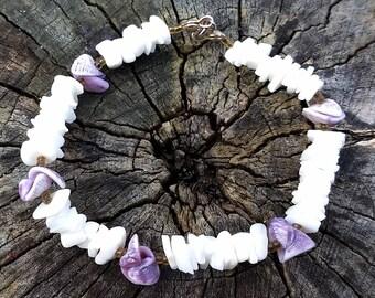 Vintage Purple and White Puka Pooka Shell Bracelet