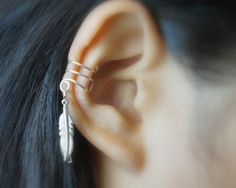 12)Double Little Bird Silver Feather Ear Cuff