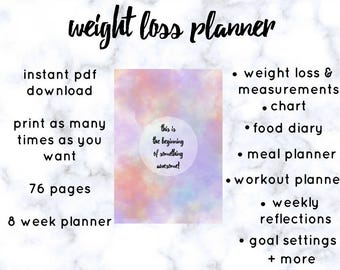 Printable PDF Weight Loss Planner l Food Diary l Meal Planner l Fitness Planner l Planner Inserts l The Beginning Of Something Awesome