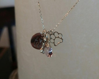 Dog Lover necklace- pink amethyst, Sterling silver charms and chain