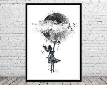 Alice with a moon, Alice in wonderland, girl nursery, blue moon, watercolor moon, moon art, moon print, watercolor Alice  (4129b1)