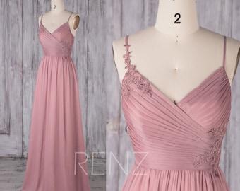 Bridesmaid Dress Dusty Rose Chiffon Dress,Wedding Dress,Spaghetti Strap Lace Prom Dress,Ruched V Neck Maxi Dress,A-line Party Dress(H681)