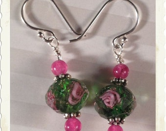 Little Pink Flowers in the Grass--Sterling Silver Earrings with Faceted Glass & Pink-Purple Jade