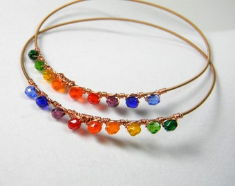set of rainbow guitar string bangle bracelet, wire wrapped with crystals