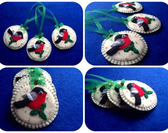 Christmas decorations of felt, Christmas birds