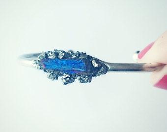 blue titanium quartz pyrite silver cuff bracelet, crystal bracelet, pyrite cuff, bangle bracelet, quartz jewelry, silver cuff, crystal cuff