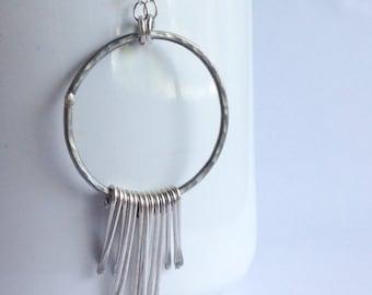 Sterling Silver Fringe Necklace - Boho Style Fringe Necklace - Bohemian Style Jewelry - 25th Anniversary