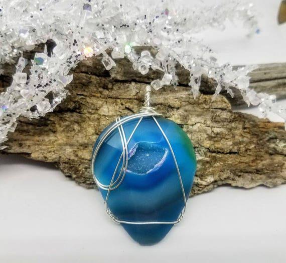 Electric Blue/Turquoise Druzy Quartz Pendant