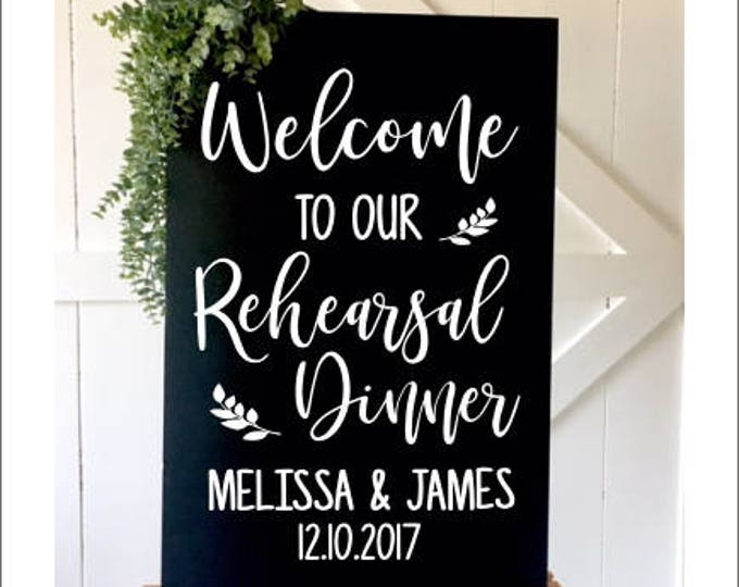 Rehearsal Dinner Decal Vinyl Decal for Wedding Rehearsal Handwritten Font Rustic Wedding Vinyl Decor Personalized Wedding Decal