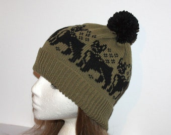 Sage Green beanie hat with Black Boston Terrier, French Bulldogs - with or without pompom top