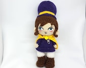 Crochet Doll Hat Kid Amigurumi based on videogame hat in time.  Doll for girls. Children's toy. Gift for children. Complete.