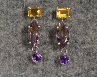 Ametrine Earrings with Citrine and Amethyst set in sterling silver