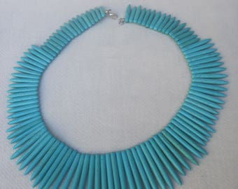 Contemporary Spikey Turquoise Howlite Spear Like Necklace