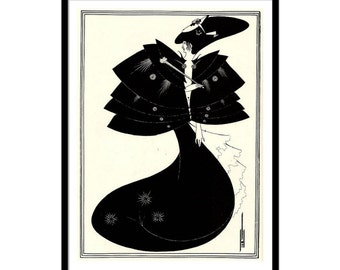 "Vintage Art Nouveau illustration ""The Black Cape"" by Aubrey Beardsley 12""x16"""