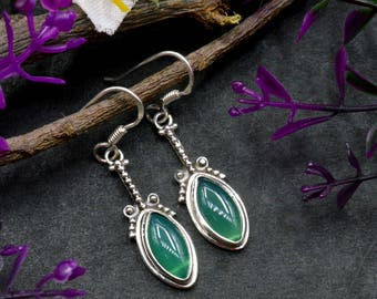 Natural Green Onyx Marquise Gemstone Drop Dangle Earring 925 Sterling Silver E109