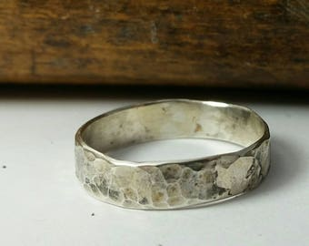SIze 7 3/4 Sterling Silver Hammered Finish Wide Band