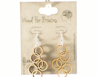 "Laser Cut Wooden Earrings - ""Bubbles"""