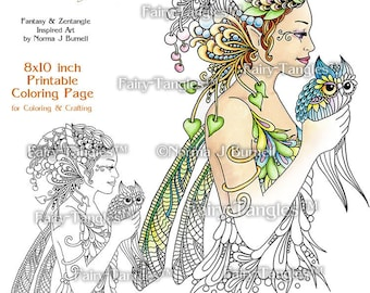 Letting Go Fairy Tangles Printable Coloring Book Sheets & Pages by Norma Burnell Digital Adult Coloring for Grownups Fairies and Owls